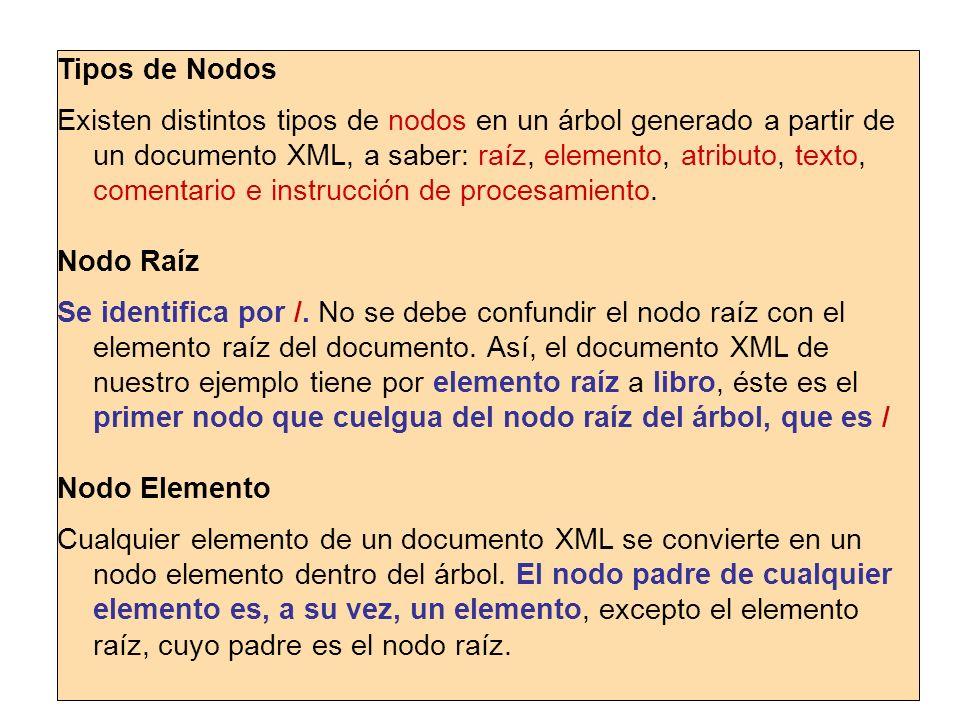 Nodo Elemento… Los nodos elemento tienen a su vez hijos, que son: nodos elemento, nodos texto, nodos comentario y nodos de intrucciones de proceso.