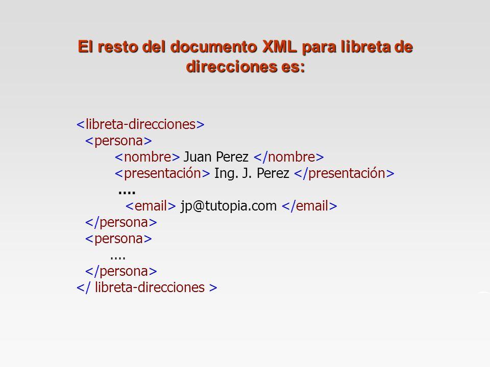 El resto del documento XML para libreta de direcciones es: Juan Perez Ing.