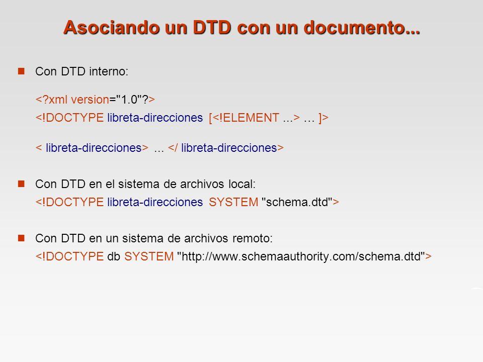 Con DTD interno: … ]>...
