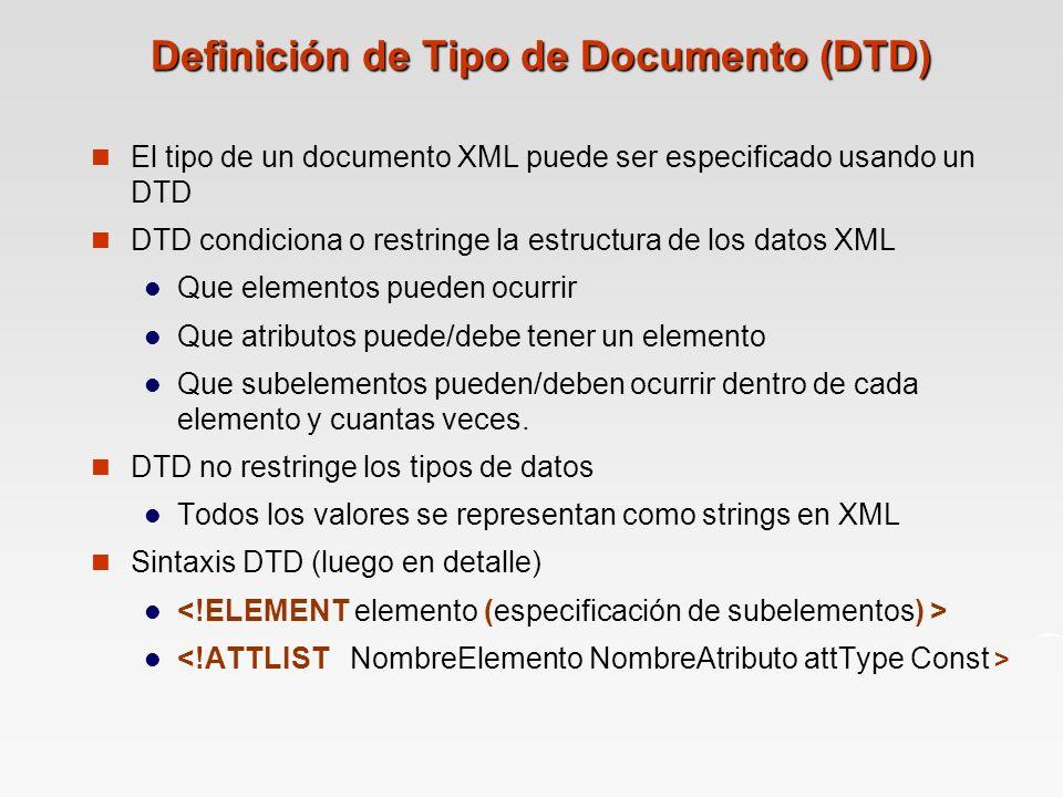 Definición de Tipo de Documento (DTD) El tipo de un documento XML puede ser especificado usando un DTD DTD condiciona o restringe la estructura de los datos XML Que elementos pueden ocurrir Que atributos puede/debe tener un elemento Que subelementos pueden/deben ocurrir dentro de cada elemento y cuantas veces.