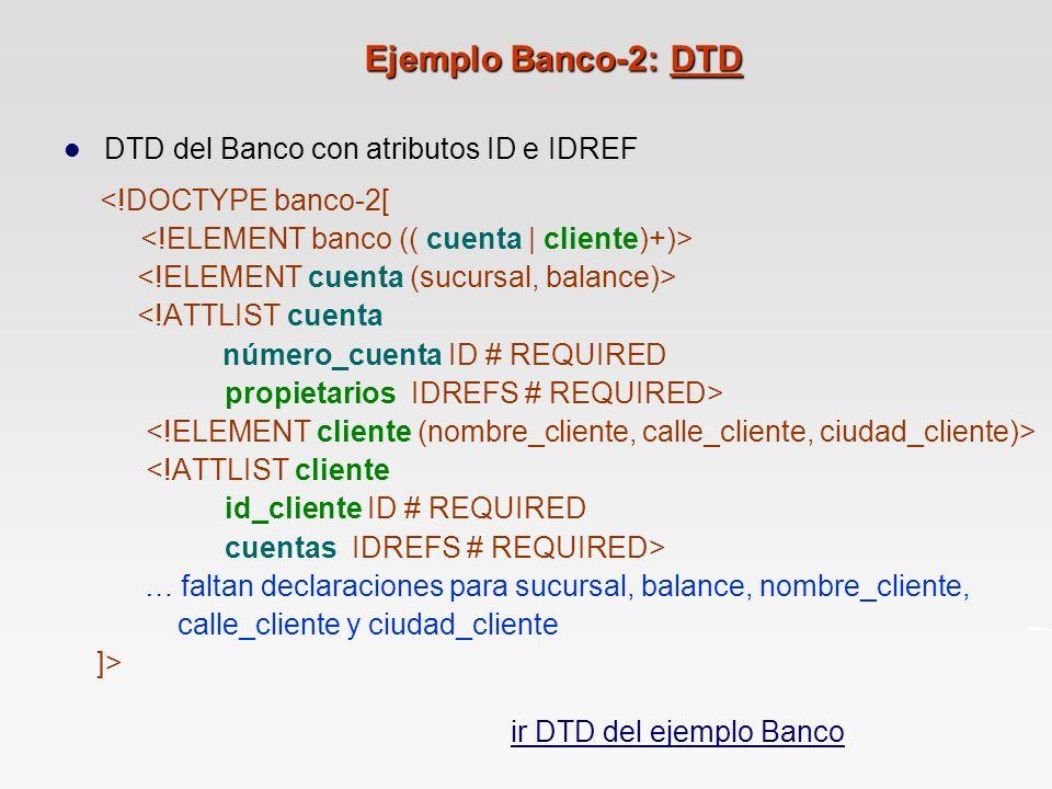 Ejemplo Banco-2: DTD DTD del Banco con atributos ID e IDREF <!DOCTYPE banco-2[ <!ATTLIST cuenta número_cuenta ID # REQUIRED propietarios IDREFS # REQUIRED> <!ATTLIST cliente id_cliente ID # REQUIRED cuentas IDREFS # REQUIRED> … faltan declaraciones para sucursal, balance, nombre_cliente, calle_cliente y ciudad_cliente ]> ir DTD del ejemplo Banco