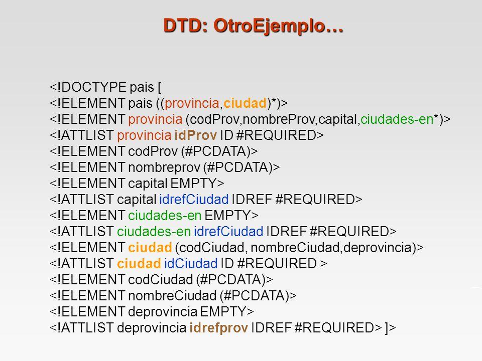 <!DOCTYPE pais [ ]> DTD: OtroEjemplo…