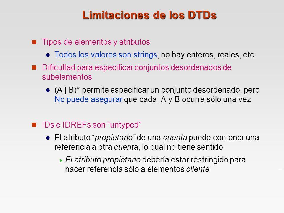 Limitaciones de los DTDs Tipos de elementos y atributos Todos los valores son strings, no hay enteros, reales, etc.