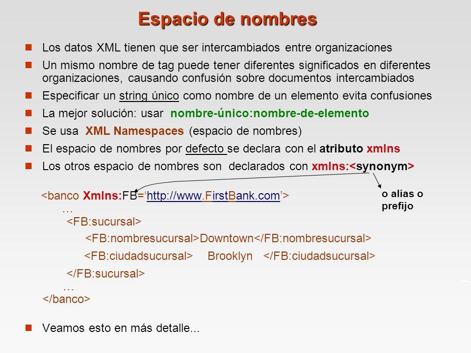 Espacio de nombres Los datos XML tienen que ser intercambiados entre organizaciones Un mismo nombre de tag puede tener diferentes significados en diferentes organizaciones, causando confusión sobre documentos intercambiados Especificar un string único como nombre de un elemento evita confusiones La mejor solución: usar nombre-único:nombre-de-elemento Se usa XML Namespaces (espacio de nombres) El espacio de nombres por defecto se declara con el atributo xmlns Los otros espacio de nombres son declarados con xmlns: … Downtown Brooklyn … Veamos esto en más detalle...
