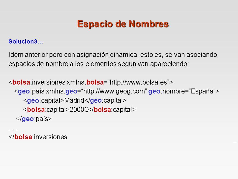 Solucion3… Idem anterior pero con asignación dinámica, esto es, se van asociando espacios de nombre a los elementos según van apareciendo: Madrid 2000...