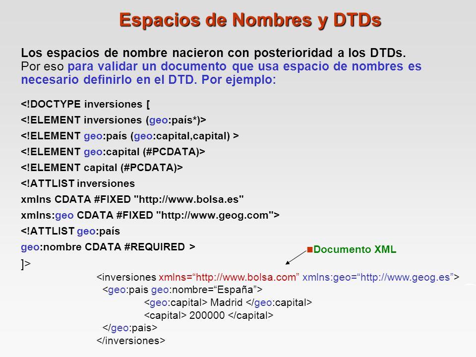 Los espacios de nombre nacieron con posterioridad a los DTDs.