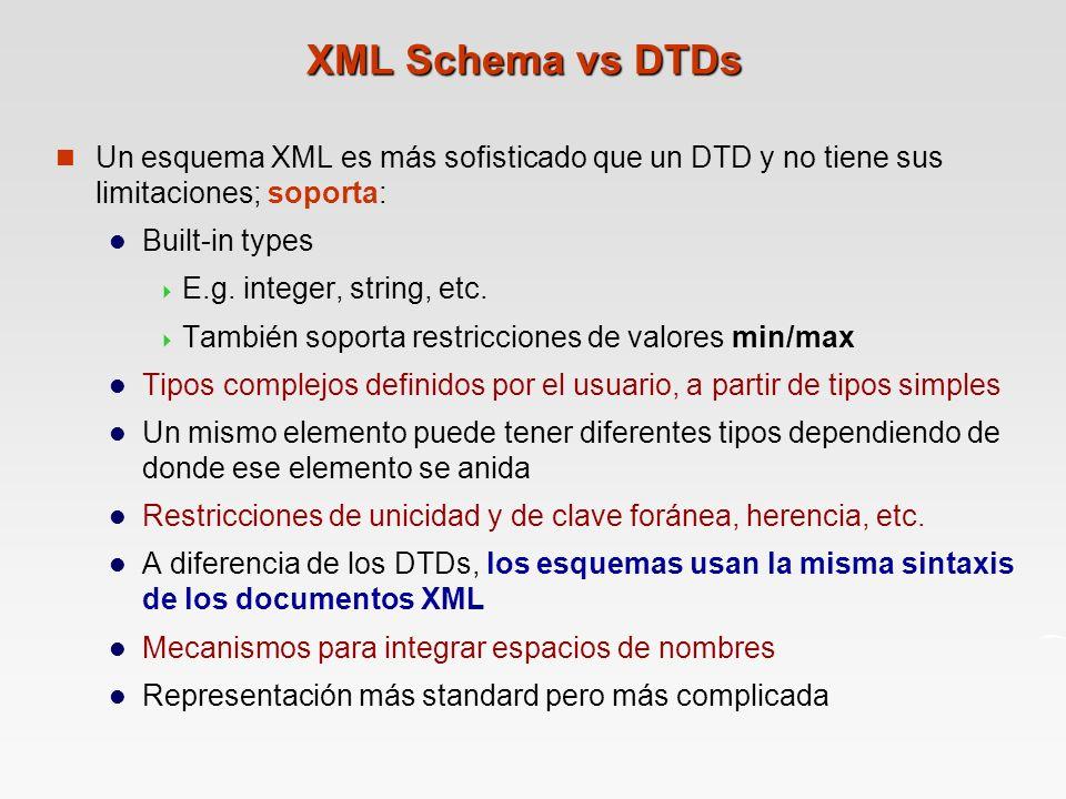 XML Schema vs DTDs Un esquema XML es más sofisticado que un DTD y no tiene sus limitaciones; soporta: Built-in types E.g.