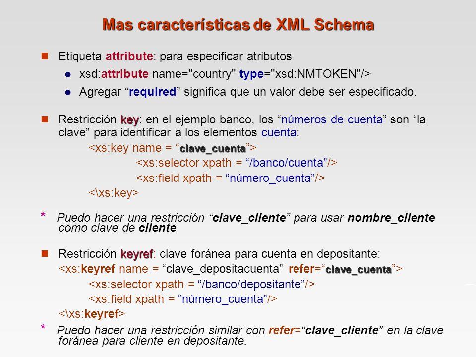 Mas características de XML Schema Etiqueta attribute: para especificar atributos xsd:attribute name= country type= xsd:NMTOKEN /> Agregar required significa que un valor debe ser especificado.