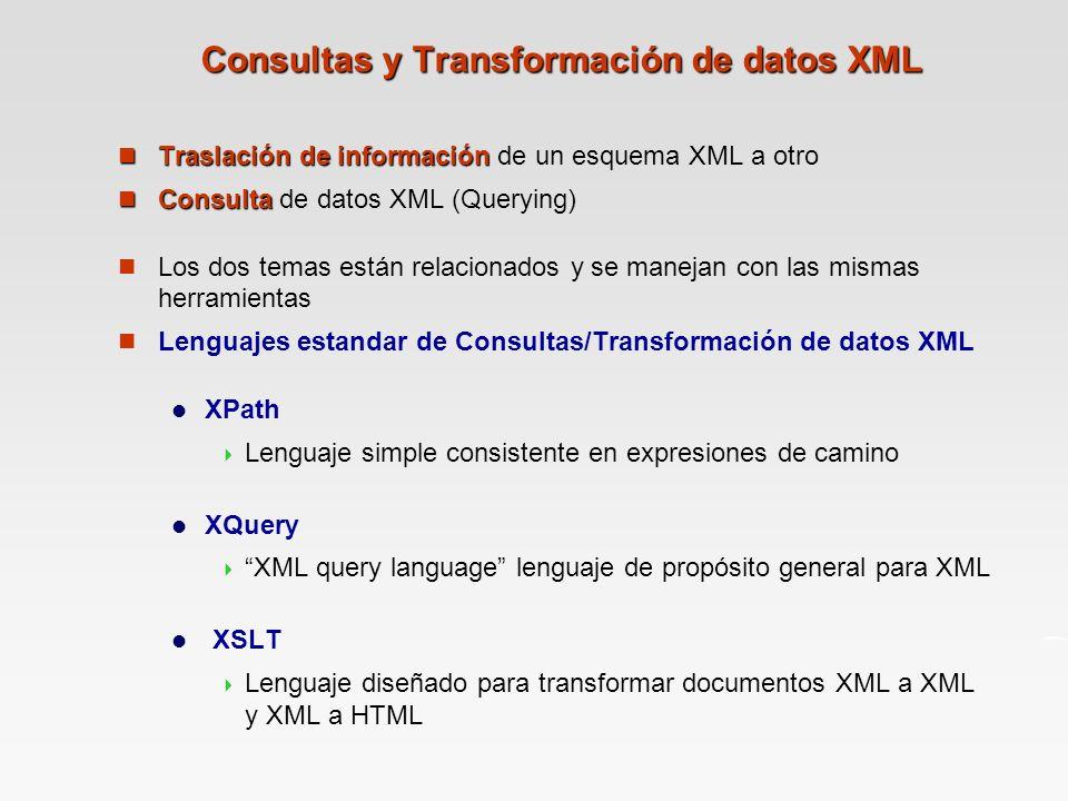 Consultas y Transformación de datos XML Traslaciónde información Traslación de información de un esquema XML a otro Consulta Consulta de datos XML (Querying) Los dos temas están relacionados y se manejan con las mismas herramientas Lenguajes estandar de Consultas/Transformación de datos XML XPath Lenguaje simple consistente en expresiones de camino XQuery XML query language lenguaje de propósito general para XML XSLT Lenguaje diseñado para transformar documentos XML a XML y XML a HTML