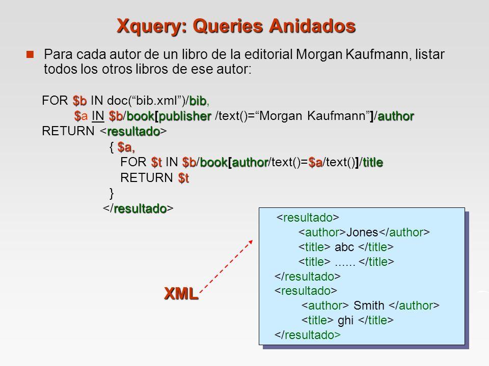 Xquery: Queries Anidados Para cada autor de un libro de la editorial Morgan Kaufmann, listar todos los otros libros de ese autor: $bbib $$bbookpublisherauthor FOR $b IN doc(bib.xml)/bib, $a IN $b/book[publisher /text()=Morgan Kaufmann]/author resultado RETURN $a, { $a, $t$bbookauthor$atitle FOR $t IN $b/book[author/text()=$a/text()]/title $t RETURN $t } resultado Jones abc......