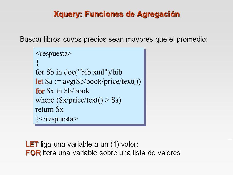 Buscar libros cuyos precios sean mayores que el promedio: { for $b in doc( bib.xml )/bib let let $a := avg($b/book/price/text()) for for $x in $b/book where ($x/price/text() > $a) return $x } { for $b in doc( bib.xml )/bib let let $a := avg($b/book/price/text()) for for $x in $b/book where ($x/price/text() > $a) return $x } LET LET liga una variable a un (1) valor; FOR FOR itera una variable sobre una lista de valores Xquery: Funciones de Agregación