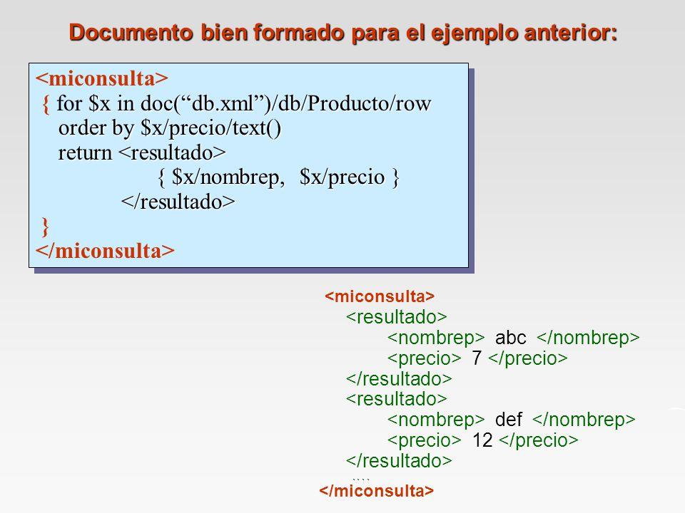 Documento bien formado para el ejemplo anterior: $x in doc(db.xml)/db/Producto/row order by $x/precio/text() return { $x/nombrep, $x/precio } { for $x in doc(db.xml)/db/Producto/row order by $x/precio/text() return { $x/nombrep, $x/precio } } $x in doc(db.xml)/db/Producto/row order by $x/precio/text() return { $x/nombrep, $x/precio } { for $x in doc(db.xml)/db/Producto/row order by $x/precio/text() return { $x/nombrep, $x/precio } } abc 7 def....