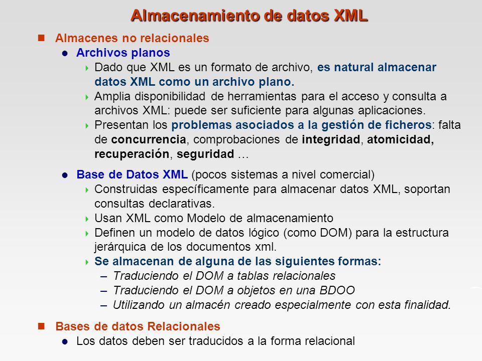 Almacenamiento de datos XML Almacenes no relacionales Archivos planos Dado que XML es un formato de archivo, es natural almacenar datos XML como un archivo plano.