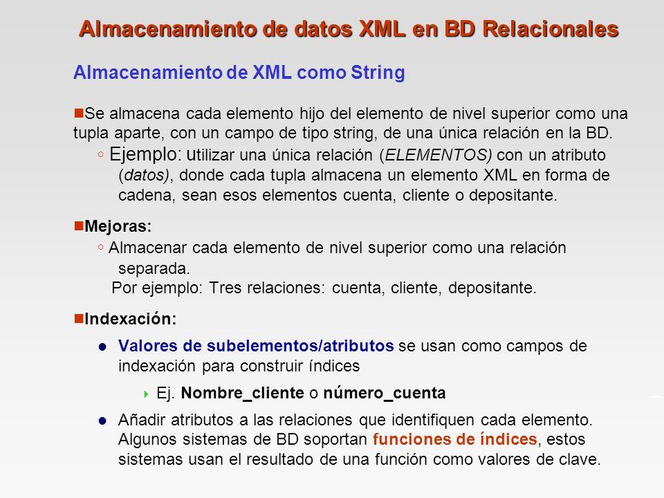 Almacenamiento de datos XML en BD Relacionales Almacenamiento de XML como String n Se almacena cada elemento hijo del elemento de nivel superior como una tupla aparte, con un campo de tipo string, de una única relación en la BD.