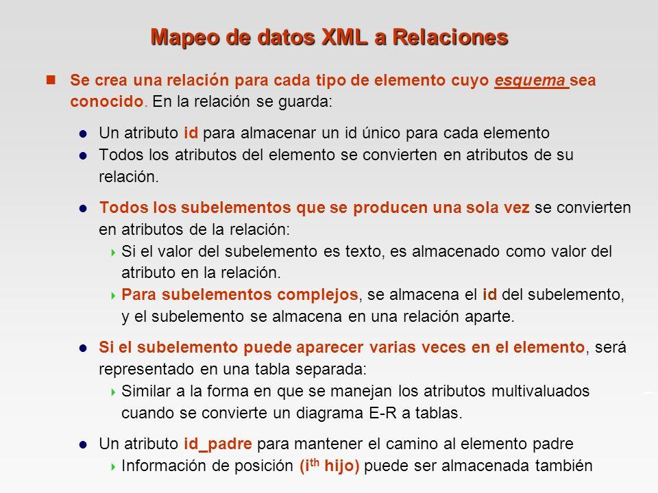 Mapeo de datos XML a Relaciones n Se crea una relación para cada tipo de elemento cuyo esquema sea conocido.