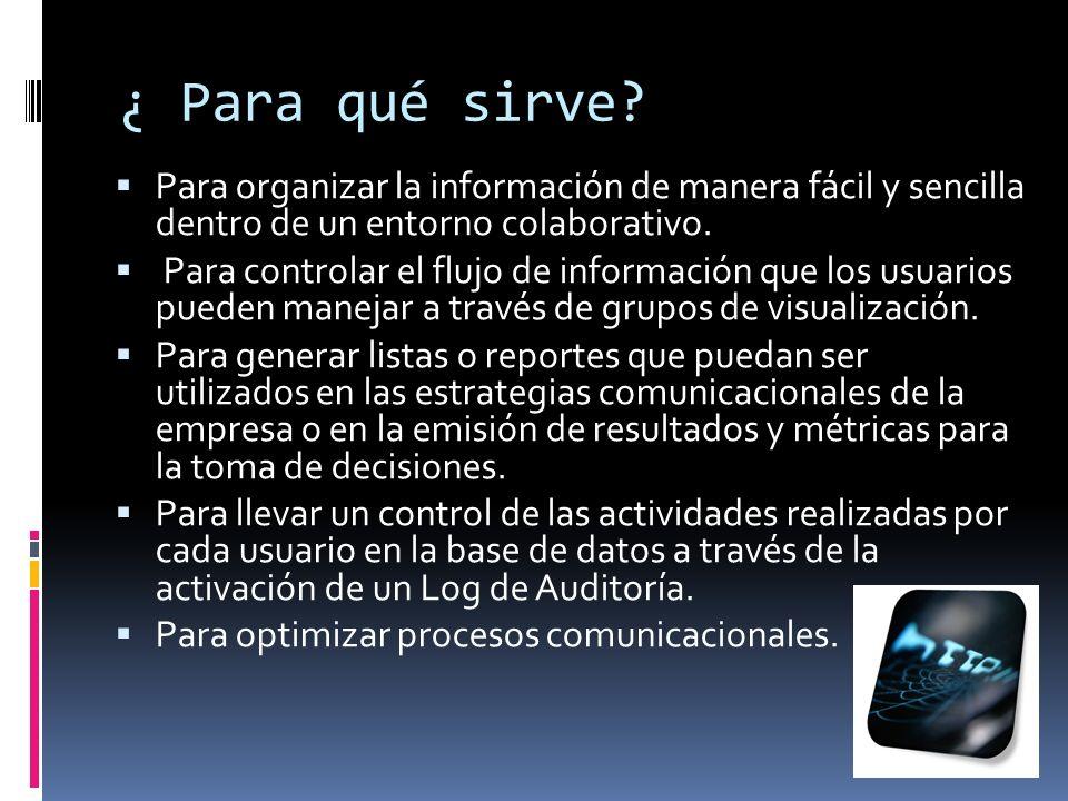 ¿ Para qué sirve? Para organizar la información de manera fácil y sencilla dentro de un entorno colaborativo. Para controlar el flujo de información q