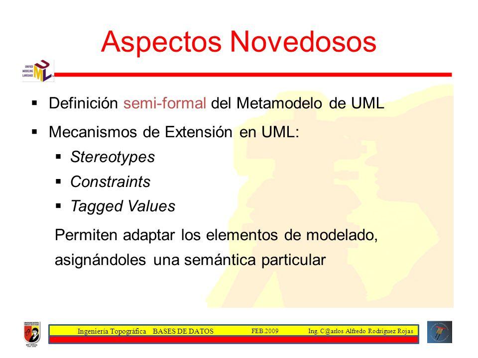 Ingeniería Topográfica BASES DE DATOS Ing. C@arlos Alfredo Rodríguez RojasFEB.2009 Aspectos Novedosos Definición semi-formal del Metamodelo de UML Mec