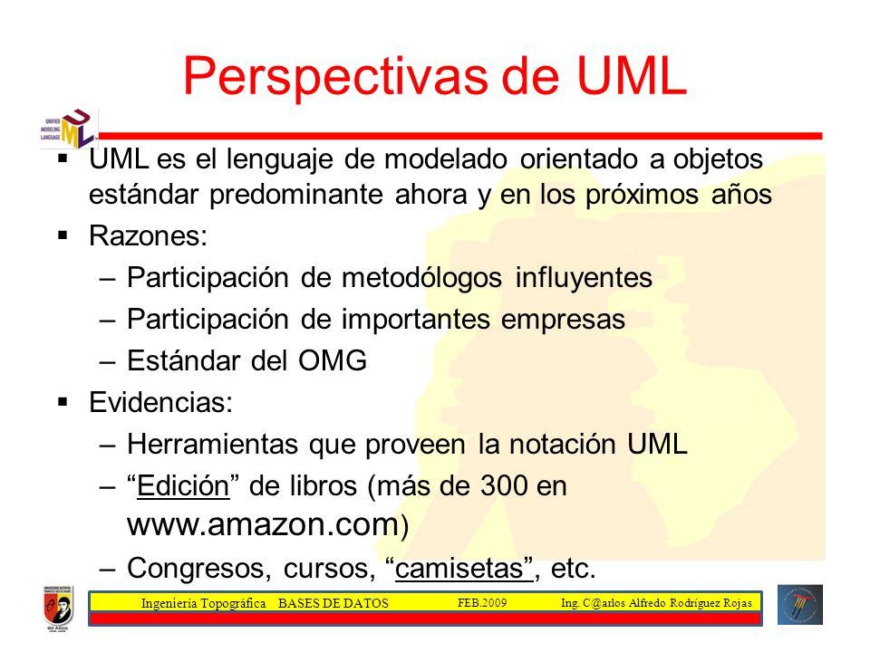 Ingeniería Topográfica BASES DE DATOS Ing. C@arlos Alfredo Rodríguez RojasFEB.2009 Perspectivas de UML UML es el lenguaje de modelado orientado a obje