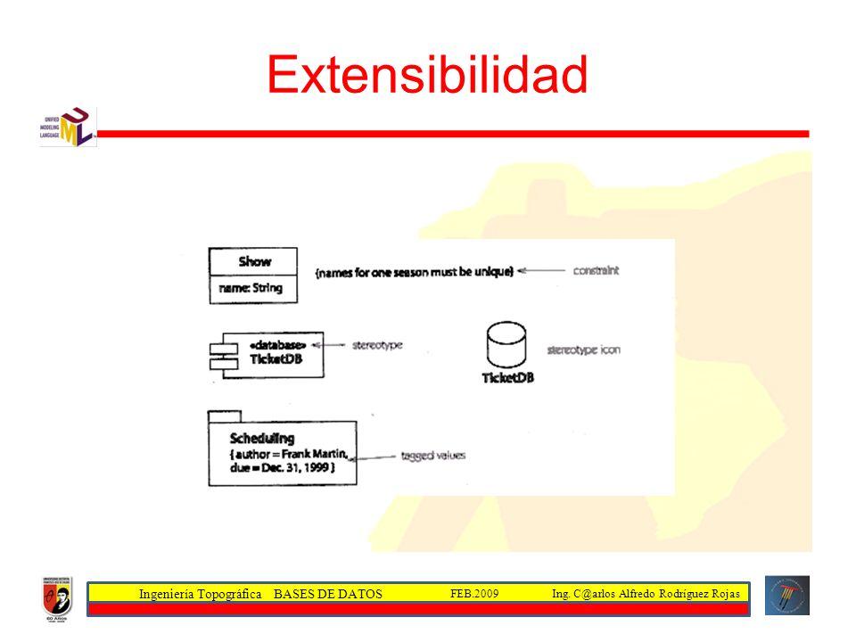 Ingeniería Topográfica BASES DE DATOS Ing. C@arlos Alfredo Rodríguez RojasFEB.2009 Extensibilidad