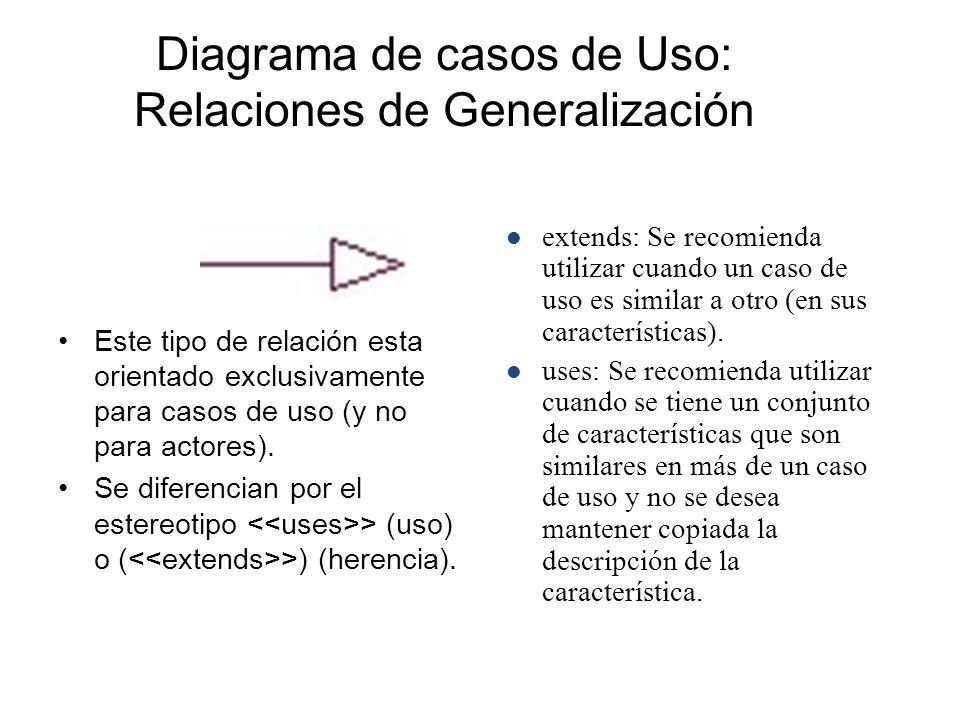 Diagrama de casos de Uso: Relaciones de Generalización Este tipo de relación esta orientado exclusivamente para casos de uso (y no para actores). Se d