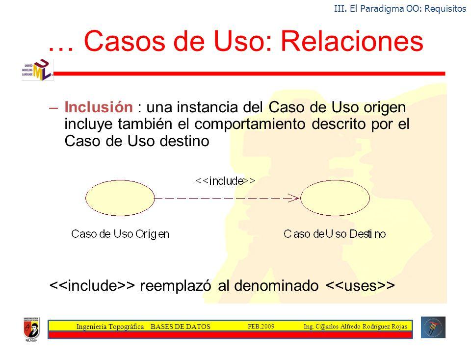 Ingeniería Topográfica BASES DE DATOS Ing. C@arlos Alfredo Rodríguez RojasFEB.2009 … Casos de Uso: Relaciones –Inclusión : una instancia del Caso de U