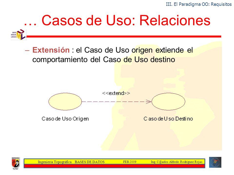 Ingeniería Topográfica BASES DE DATOS Ing. C@arlos Alfredo Rodríguez RojasFEB.2009 … Casos de Uso: Relaciones –Extensión : el Caso de Uso origen extie