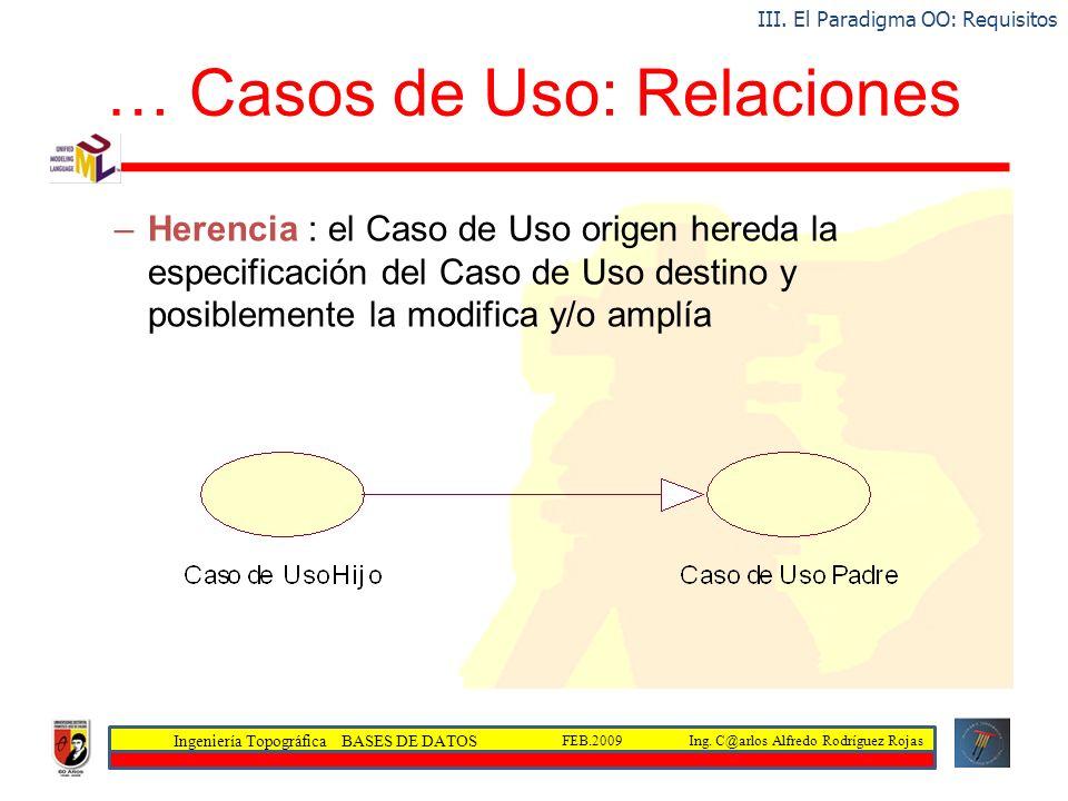 Ingeniería Topográfica BASES DE DATOS Ing. C@arlos Alfredo Rodríguez RojasFEB.2009 … Casos de Uso: Relaciones –Herencia : el Caso de Uso origen hereda