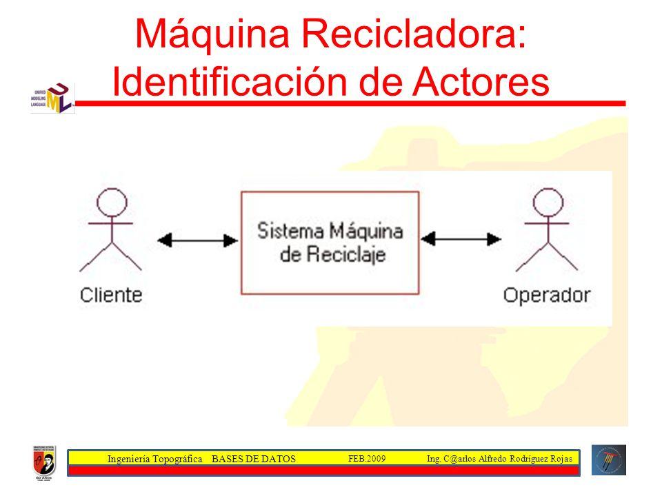 Ingeniería Topográfica BASES DE DATOS Ing. C@arlos Alfredo Rodríguez RojasFEB.2009 Máquina Recicladora: Identificación de Actores