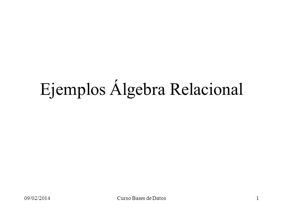 09/02/2014Curso Bases de Datos1 Ejemplos Álgebra Relacional