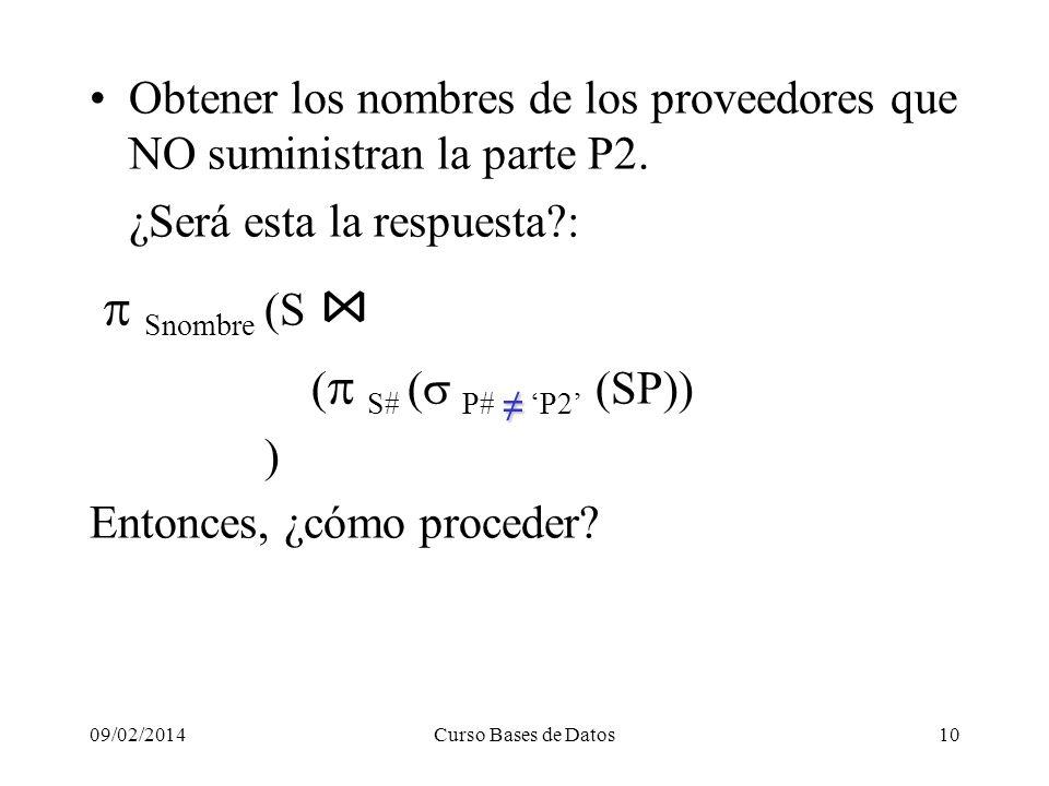 09/02/2014Curso Bases de Datos10 Obtener los nombres de los proveedores que NO suministran la parte P2.
