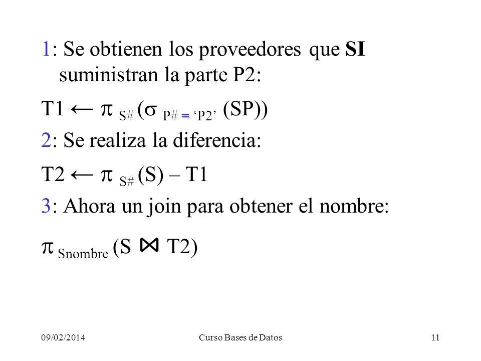 09/02/2014Curso Bases de Datos11 1: Se obtienen los proveedores que SI suministran la parte P2: = S# P# = P2 (SP)) 2: Se realiza la diferencia: S# S) – T1 3: Ahora un join para obtener el nombre: Snombre (S T2)
