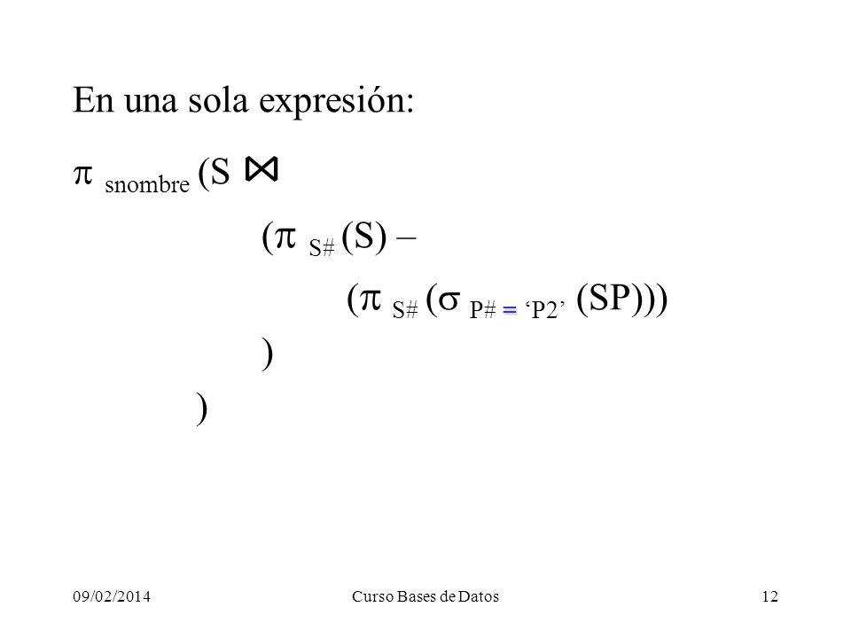 09/02/2014Curso Bases de Datos12 En una sola expresión: snombre (S ( S# S) – = S# P# = P2 (SP))) )