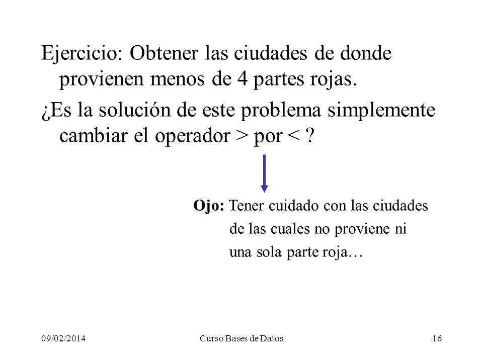 09/02/2014Curso Bases de Datos16 Ejercicio: Obtener las ciudades de donde provienen menos de 4 partes rojas.