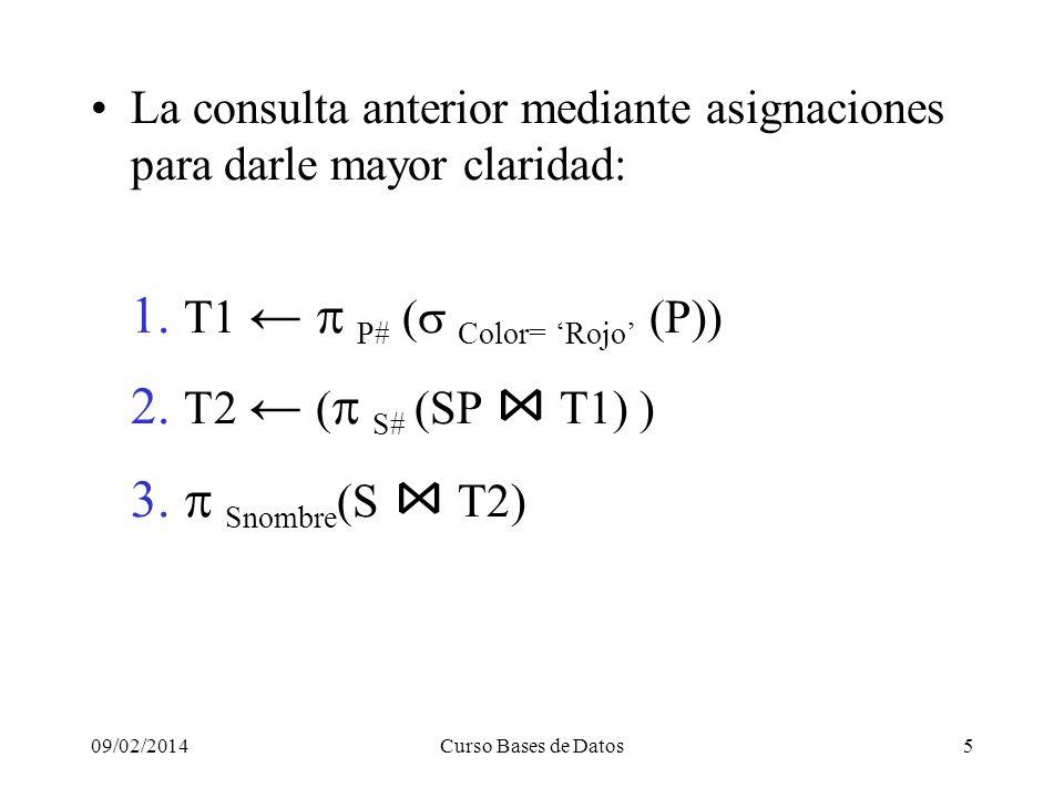09/02/2014Curso Bases de Datos5 La consulta anterior mediante asignaciones para darle mayor claridad: 1.