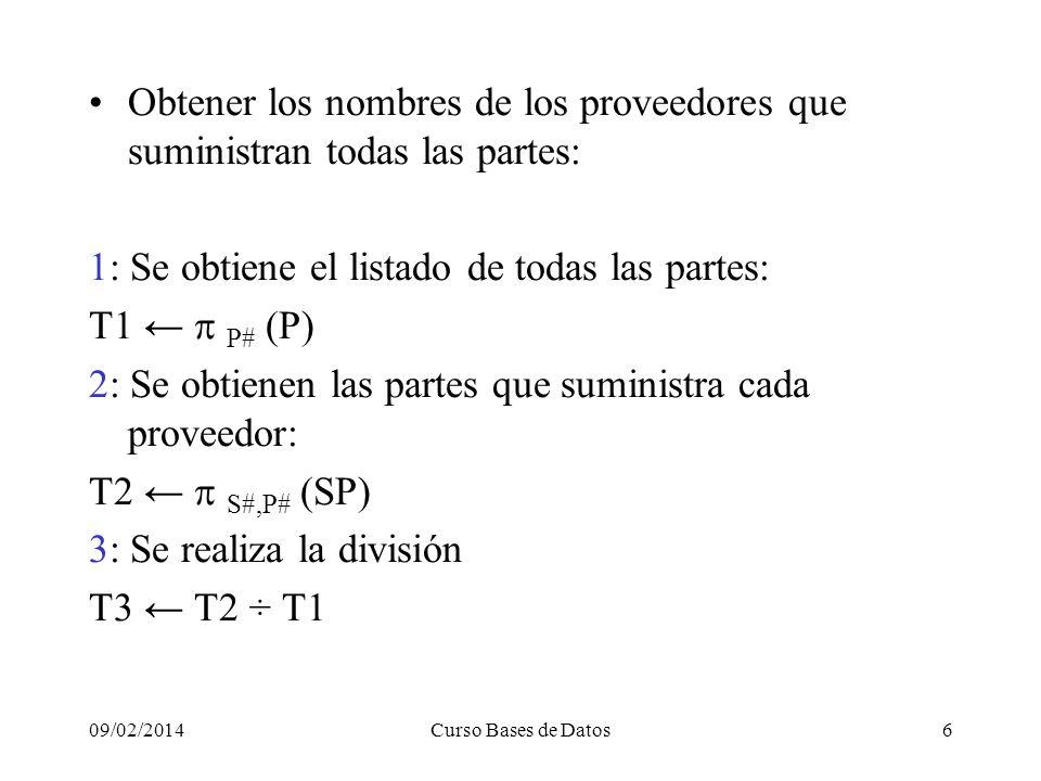 09/02/2014Curso Bases de Datos6 Obtener los nombres de los proveedores que suministran todas las partes: 1: Se obtiene el listado de todas las partes: T1 P# (P) 2: Se obtienen las partes que suministra cada proveedor: T2 S#,P# (SP) 3: Se realiza la división T3 T2 ÷ T1