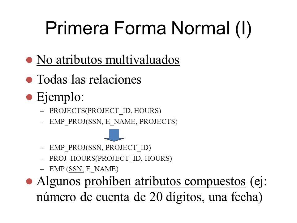 Primera Forma Normal (I) No atributos multivaluados Todas las relaciones – EMP_PROJ(SSN, PROJECT_ID) – PROJ_HOURS(PROJECT_ID, HOURS) – EMP (SSN, E_NAM