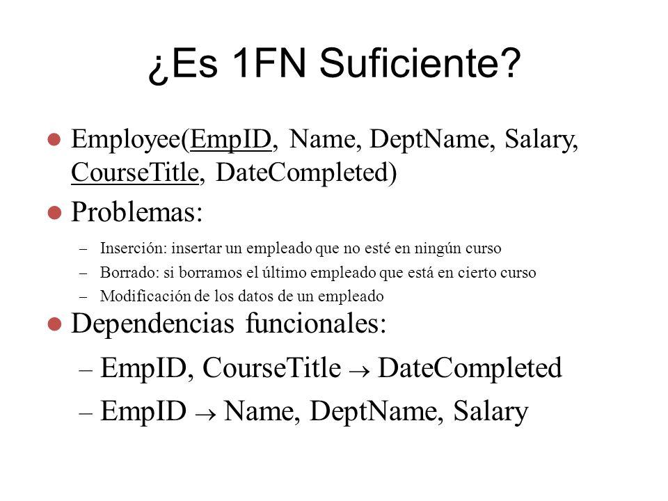¿Es 1FN Suficiente? Employee(EmpID, Name, DeptName, Salary, CourseTitle, DateCompleted) – Inserción: insertar un empleado que no esté en ningún curso