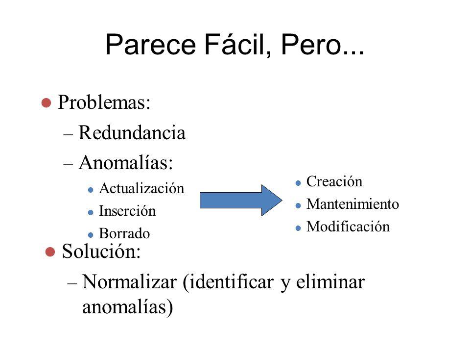 Parece Fácil, Pero... Problemas: – Redundancia – Anomalías: Actualización Inserción Borrado Solución: – Normalizar (identificar y eliminar anomalías)