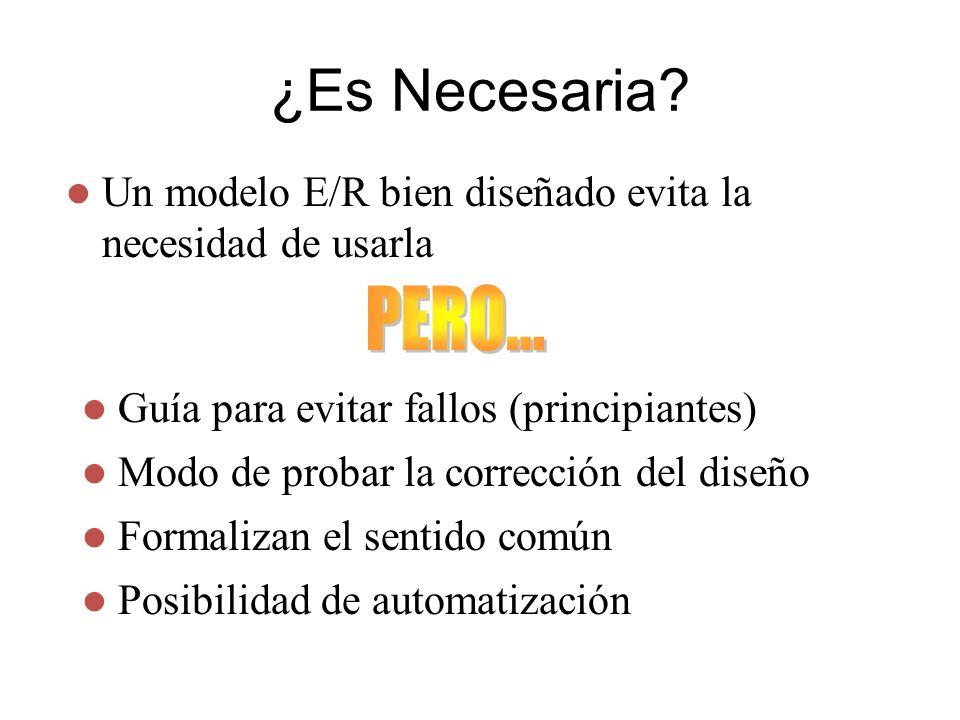 ¿Es Necesaria? Un modelo E/R bien diseñado evita la necesidad de usarla Guía para evitar fallos (principiantes) Modo de probar la corrección del diseñ