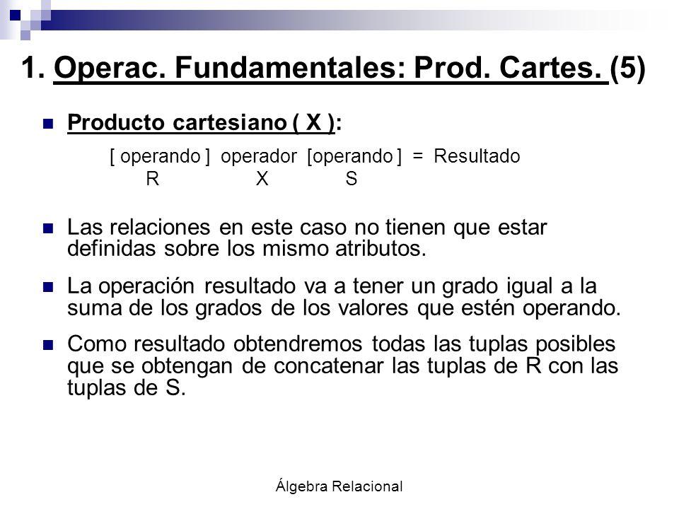Álgebra Relacional Producto cartesiano ( X ): [ operando ] operador [operando ] = Resultado R X S Las relaciones en este caso no tienen que estar defi