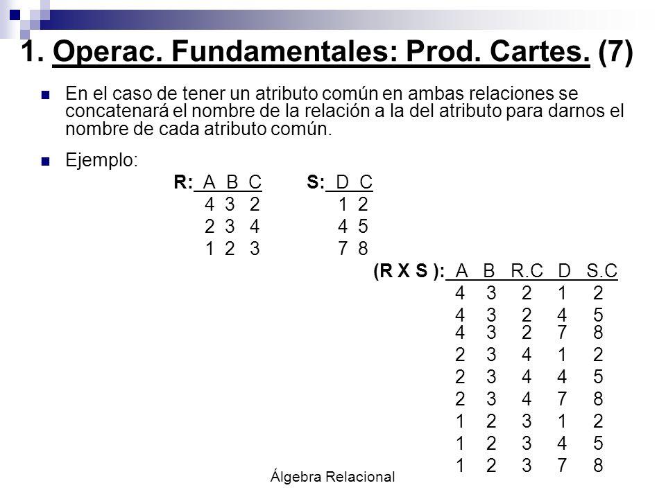 Álgebra Relacional En el caso de tener un atributo común en ambas relaciones se concatenará el nombre de la relación a la del atributo para darnos el
