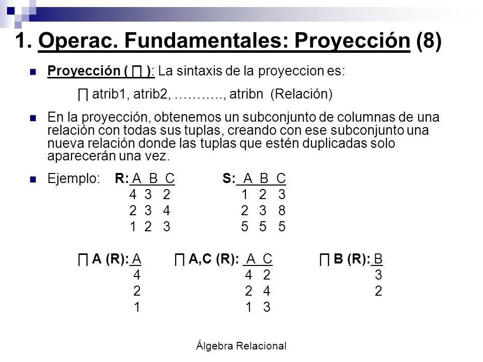 Álgebra Relacional Proyección ( ): La sintaxis de la proyeccion es: atrib1, atrib2, ……….., atribn (Relación) En la proyección, obtenemos un subconjunt