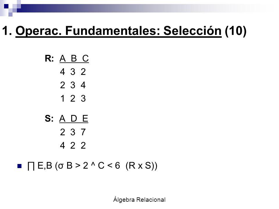 Álgebra Relacional R: A B C 4 3 2 2 3 4 1 2 3 S: A D E 2 3 7 4 2 2 E,B (σ B > 2 ^ C < 6 (R x S)) 1. Operac. Fundamentales: Selección (10)
