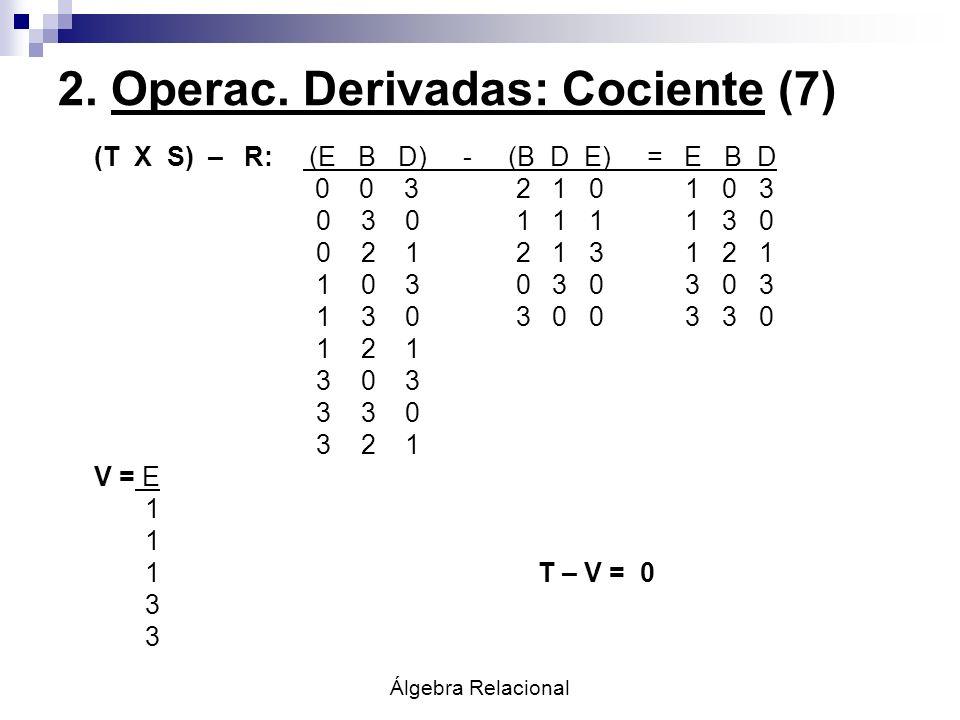 Álgebra Relacional 2. Operac. Derivadas: Cociente (7) (T X S) – R: (E B D) - (B D E) = E B D 0 0 3 2 1 0 1 0 3 0 3 0 1 1 1 1 3 0 0 2 1 2 1 3 1 2 1 1 0
