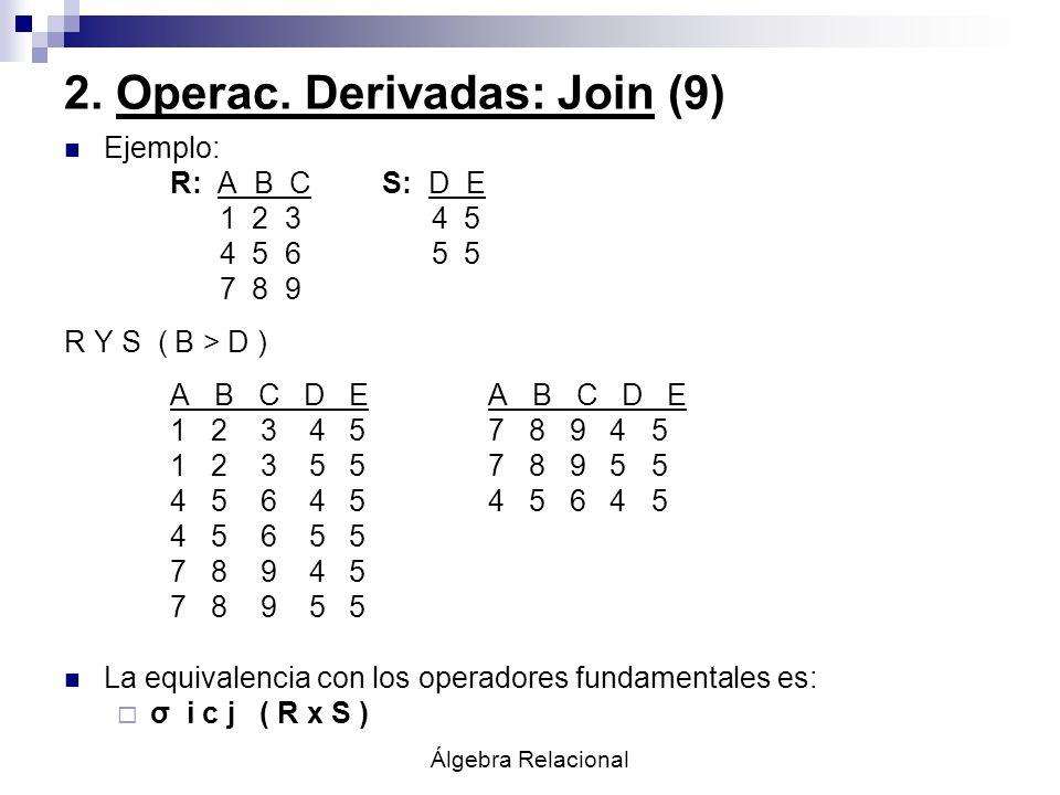 Álgebra Relacional 2. Operac. Derivadas: Join (9) Ejemplo: R: A B CS: D E 1 2 3 4 5 4 5 6 5 5 7 8 9 R Y S ( B > D )A B C D E 1 2 3 4 5 7 8 9 4 5 1 2 3
