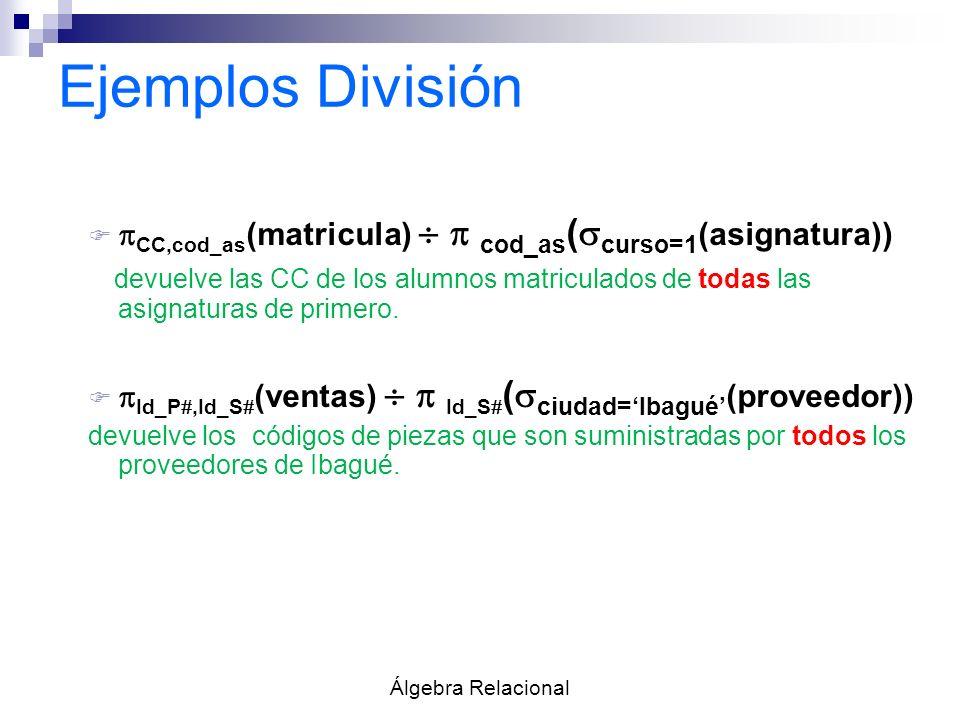 Ejemplos División F CC,cod_as (matricula) cod_as ( curso=1 (asignatura)) devuelve las CC de los alumnos matriculados de todas las asignaturas de prime