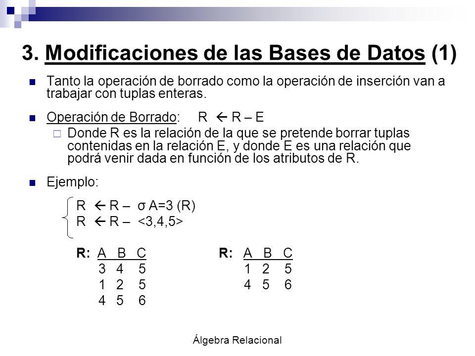 Álgebra Relacional 3. Modificaciones de las Bases de Datos (1) Tanto la operación de borrado como la operación de inserción van a trabajar con tuplas