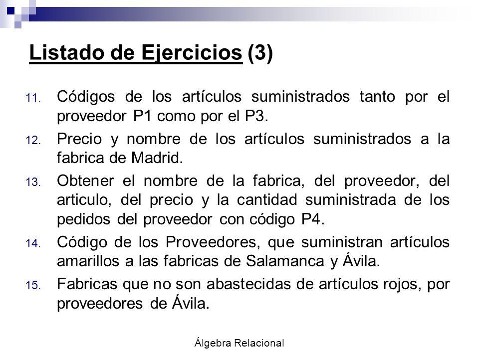 Álgebra Relacional Listado de Ejercicios (3) 11. Códigos de los artículos suministrados tanto por el proveedor P1 como por el P3. 12. Precio y nombre