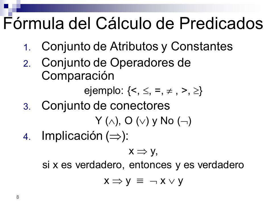8 Fórmula del Cálculo de Predicados 1. Conjunto de Atributos y Constantes 2. Conjunto de Operadores de Comparación ejemplo: {, } 3. Conjunto de conect