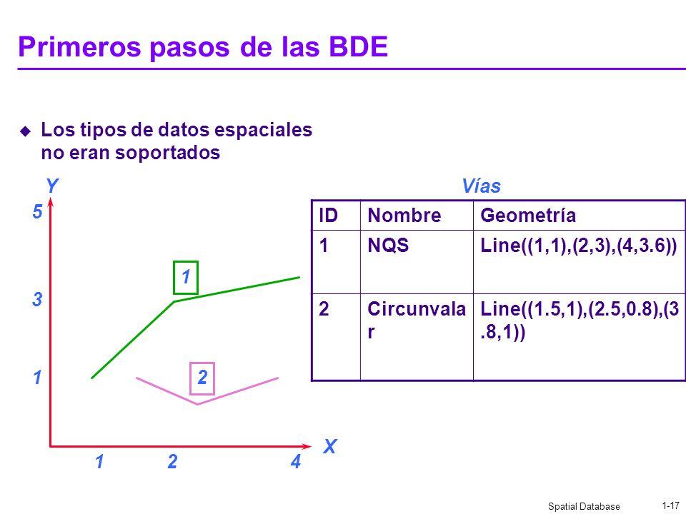 Spatial Database 1-16 Uso eficiente de la red El dato está comprimido para la transferencia El protocolo de transporte en la red es TCP/IP Trabaja par